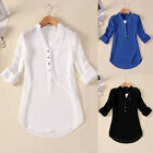 Size S-5XL Womens V Neck Chiffon Top Long Sleeve Button Tee Shirt Loose Blouse