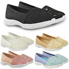 Womens Ladies Flat Slip On Moccasins Summer Trainers Pumps Air Shoes Casual Size