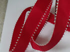 Red with Silver Pom Pom / Snowball edge Christmas - Luxury Wire Ribbon LAST 3m