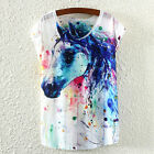 1pc Fashion Ladies Printed Short-sleeved T-shirt Bat Sleeve Top Cloth