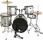 Black Silver Color Complete 5 Piece All-in-one Adult Drum Set Cymbals Full Size