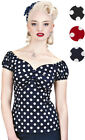 Collectif DOLORES Polka Dots Punkte 50s Gypsy Vintage Bluse SHIRT Rockabilly