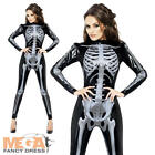 Skeleton X-Ray Jumpsuit Ladies Halloween Fancy Dress Adults Womens Costume New