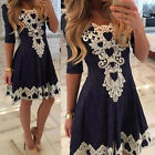 Fashion Elegant Women's Summer Lace Evening Cocktail Party 3/4 Sleeve Mini Dress