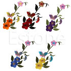 Butterfly Plum Embroidered Motif Applique Sewing Iron On Patch DIY Accessory