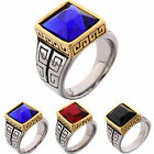 Men's Solitaire Ruby Stone Gold on Silver Stainless Steel Class Ring Jewelry