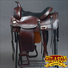 "DF203 HILASON WIDE GULLET DRAFT WESTERN TRAIL ENDURANCE HORSE SADDLE 16"" 17"""