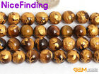 Natural Carved Tiger Eye Buddhist Mala Lucky Stone Beads For Jewelry Making 15""