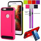For iPhone 6 6S Plus Hybrid Rugged Hard Soft Shockproof Card Stand Case Cover