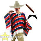 NATURAL MEXICAN POMPOM SOMBRERO PONCHO TASH AND CIGAR UNISEX FANCY DRESS COSTUME