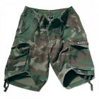 Vintage Paratrooper Cargo Shorts Olive Drab Green or Woodland Camo Pre Washed