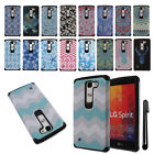 For LG Spirit H443 Anti Shock TPU HYBRID HARD Back Silicone Case Cover + Pen
