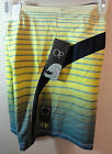 NWT - OP mens MULTI GREEN STRIPE Opflex 4 way stretch BOARD SHORTS -  34