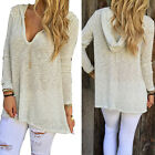 Sexy Femme Pull Manches Longues Col V Crochet T-Shirt Chemise Tops Loose Casual