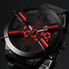 SHARK LED&Analog Dual Display Alarm Date Day Mens Black Sport Quartz Wrist Watch