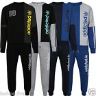 Mens Gents ADDICTED Contrast Slim Fit Round Neck Fleece Pocket Tracksuit Joggers