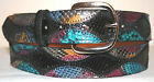 Genuine Black & Multi Color Python Skin Belt sizes 24 to 48