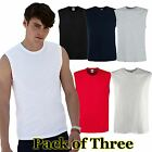 Mens 3 Pack Fruit of the Loom Tank Top-Mens Cotton T-Shirt 5 Colours