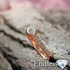 Round Diamond Engagement Ring Size 6.5 14k Rose Gold 0.89 TCW VS-SI D-F Enhanced