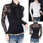 Retro Victorian Lace Flower Ruffles High Neck Long Sleeves Twinset Blouse