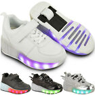 Kids Girls Boys Wheel Skates Trainers Flashing LED Luminous Lace Up Pumps Size