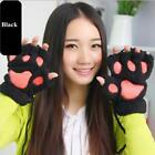 Cute Girl Womens Warm Cat Bear's Paw Furry Thicken Half Finger Gloves Gifts - LD