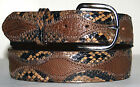 Genuine Brown Ostrich & Taupe Python Skin Belt sizes 24 to 48