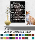 Nanny's House Rules Wall Decor Picture Canvas Print Wall Plaque Picture A3/A4