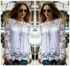 Fashion Women Sheer Sleeve Embroidery Top Blouse Lace Crochet Chiffon Shirt - LD