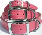 Small Medium Large Quality Pink Leather Dog Collar
