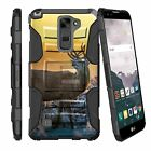 For LG Stylo Stylus Phone Dual Armor Holster Clip Kickstand Deer Camouflage Case