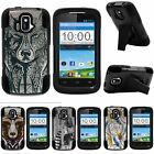 For ZTE Sonata| ZTE Radiant| Hybrid Hard Bumper Stand Case Drawn Designs
