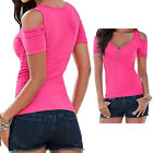 Women Summer Short Sleeve Tight Tops Blouse Casual T-Shirt Off Shoulder Solid
