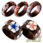 FLOWER WOOD RING hand painted hibiscus flower power hippie goa 70's boho ethno