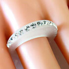 Frosted Acrylic Ring Single Row Of Swarovski Elements Crystal On Raised Oval Top