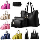 Popular Women Composite PU Leather Tote+Shoulder/Messenger+Clutches Bags 3 in 1