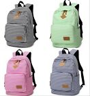 Women Girls Canvas Stripes Outdoor Travel Handbags School Book Backpack Satchel