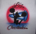 AIRBRUSHED CHEERLEADER CHEER T SHIRT PERSONALIZED WITH ANY NAME ALL SIZES