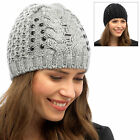 Ladies Chunky Cable Knit Embellished Sequins Beanie Hat Warm Winter Accessory