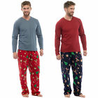 Mens Pyjama Set Jersey Top Christmas Fleece Trousers Warm PJ Night Lounge Wear