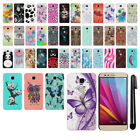 For Huawei Honor 5X PATTERN HARD Back Case Phone Cover + Pen