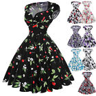 Womens Ladies Floral Cotton Vintage 50's 60's Dress Pinup Swing Party Dresses