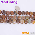 """Natural Botswana Agate Beads For Jewelry Making Coin Gemstone Beads 15"""" 14-16mm"""