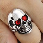 Hallowmas Gift Punk Gothic Stainless Steel Black Silver Tone Skull Men Ring 8-12