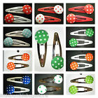 TODDLER/GIRL/ADULT 5 CM BUTTON SNAP HAIR CLIPS - SPOTS - SCHOOL, EVERY DAY WEAR