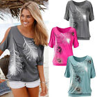 Stylish Women Feather Print Loose Short Sleeve Tops Oversize Blouse T Shirt