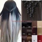 100% Natural Full Head Clip In Hair Extensions Straight Curly 18 Clips As Human