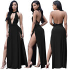 Women Sexy Backless Halter Long Party Evening Gown Clubwear Maxi Dress Plus Size