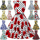 New Womens Ladies Retro Floral Party Vintage 1950s Swing Cocktail Evening Dress