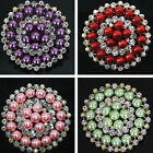 New!!Korean big round brooch 66mm colorS shell pearl white crystal jewelry B1233
